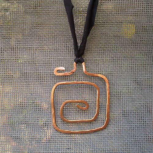Artisan Spiral Copper Handmade Hammered Pendant Necklace Christmas Gift #Unbranded #Pendant
