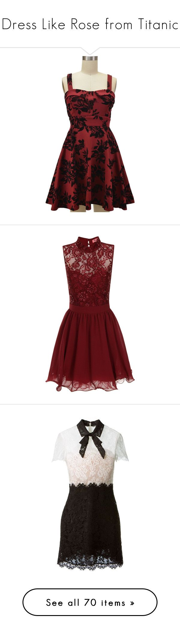 """""""Dress Like Rose from Titanic"""" by sophialovescoffee ❤ liked on Polyvore featuring dresses, red, vestidos, garnet dress, bow dress, sundress dresses, bow tie dress, sweetheart dress, short dresses and sale"""