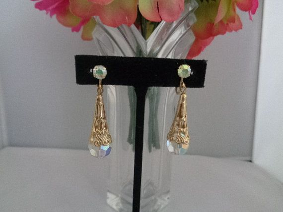 "Golden Filigree Vintage French Clip 1.5"" Drop Dangle Earrings with Clip On Backs - Priced at $23.99 The Earrings and many other great vintage items can be seen in our store at www.CCCsVintageJewelry.com We are offering free shipping on all items in the store. Have a great night! Best, Coco"