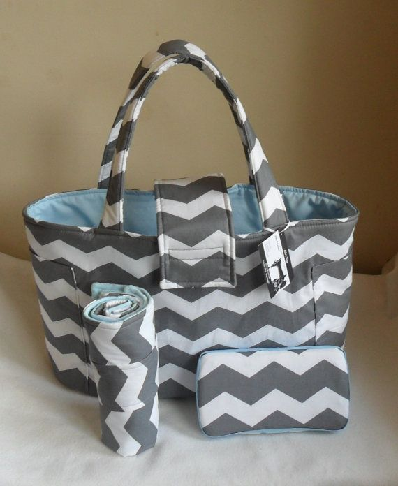 Large Gray Chevron Diaper Bag Set with Changing Mat by JuliesBags - but pink instead of blue, $69.99