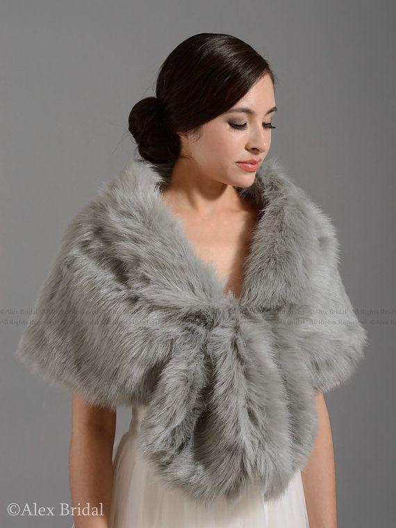 Silver Faux Fur Wrap Bridal Shrug Stole Shawl