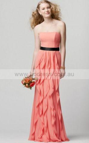Sleeveless Strapless Zipper Chiffon Floor-length Formal Dresses zsh017--Hodress