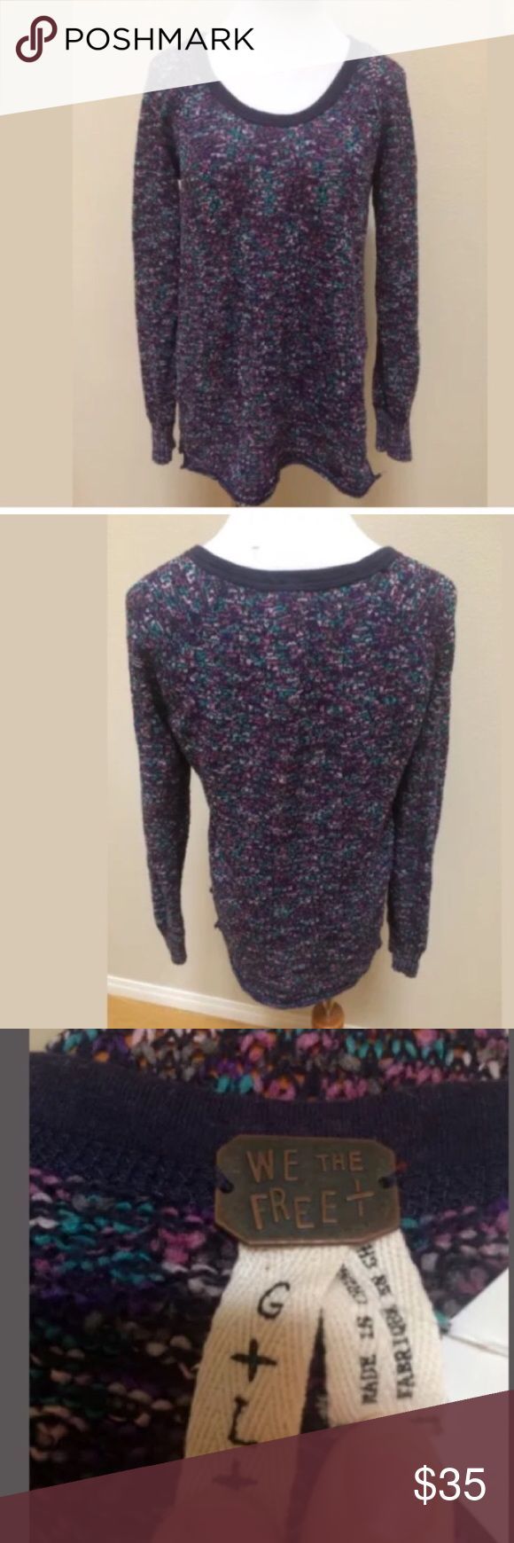 """We The Free People Textured Loose Knit Sweater We The Free Free People Blue Purple Textured Loose Knit Sweater Top Women Large.  Excellent condition! Loose knit. Clean and comes from smoke free home. Questions welcomed! Armpit to armpit: 19.5"""" across Length: 27.5"""" Free People Sweaters Crew & Scoop Necks"""