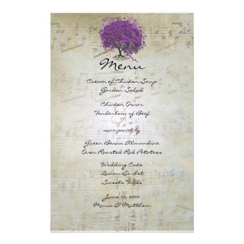 Fairy Tale Wedding Menu Purple Heart Leaf Tree Wedding Menu