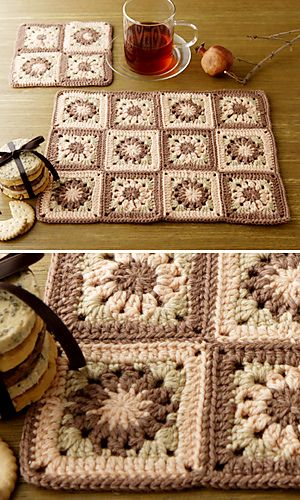 Crochet placemats with motifs. Free Pattern.