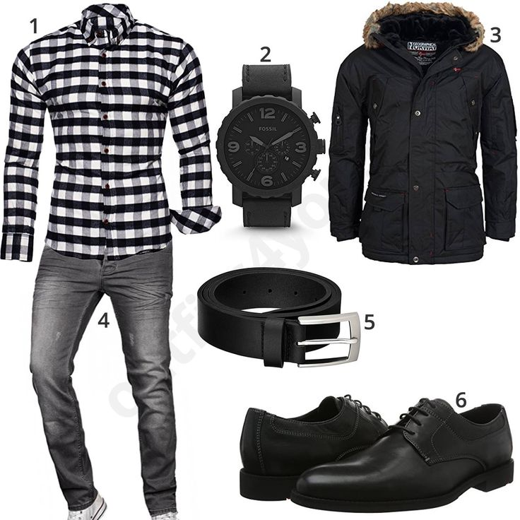Herren-Outfit mit kariertem Hemd und Winterjacke (m0611) #outfit #style #fashion #menswear #herren #männer #shirt #mode #styling #sneaker #menstyle #mensfashion #menswear #inspiration #shirt #cloth #clothing #ootd #herrenoutfit #männeroutfit