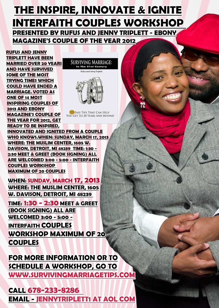 Rufus and Jenny Triplett have been married over 20 years and have survived some of the most trying times which could have ended a marriage. Voted as one of 14 Most Inspiring Couples of 2013 and Ebony Magazine's Couple of the Year for 2012. Get ready to be Inspired, Innovated and Ignited from a couple who knows.  http://www.facebook.com/events/531338043577219/