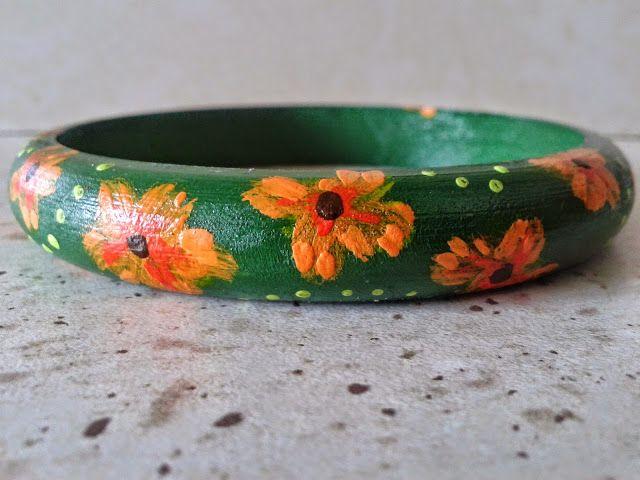 Sunflower - w wolnej chwili...: Letnia łączka - bransoletka ręcznie malowana