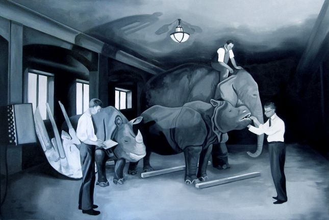 """Something to check out at the University of Kentucky Hospital: Lina Tharsing's installation of a group of six paintings that reference images from the creation of the dioramas at the American Museum of Natural History in New York.  These paintings have been installed at the Albert B. Chandler Hospital in Lexington, Kentucky.  (This is a UK Arts in Healthcare project.)    These paintings relate to her exhibition """"Natural History"""" at Institute 193 in Lexington, Kentucky.  (source: Richard…"""