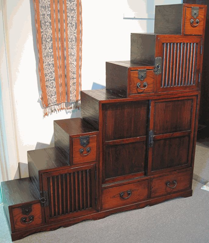 asian influence furniture | Antique Asian Furniture: Rare Step-Chest Tansu from Japan