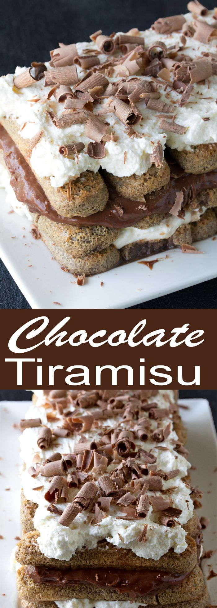 Chocolate lovers will be in heaven with Chocolate Tiramisu. Chocolate soaked lady fingers are layered with mascarpone cream and chocolate custard in this alcohol and coffee free take on the classic tiramisu.