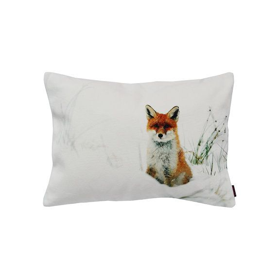 Handmade Designer Snow Fox Cushion by Textiler