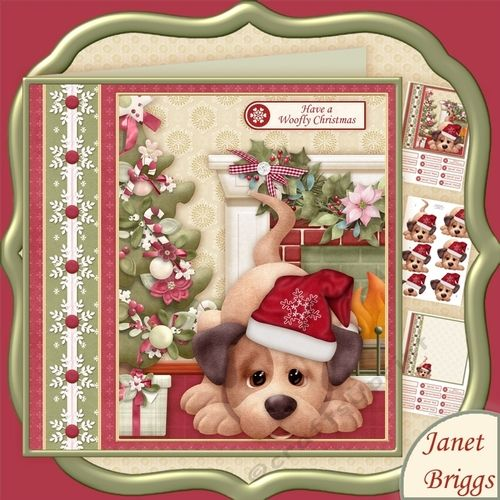 HAVE A WOOFLY CHRISTMAS 78 Decoupage Kit By Janet Briggs 3 Sheet Mini With 3d