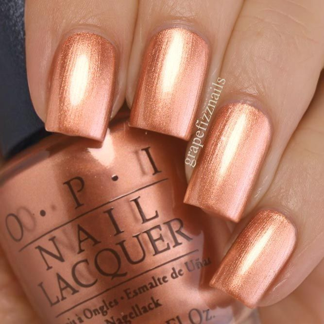 31 Juicy Summer Nail Colors For More Fun In The Sun Gold Nail