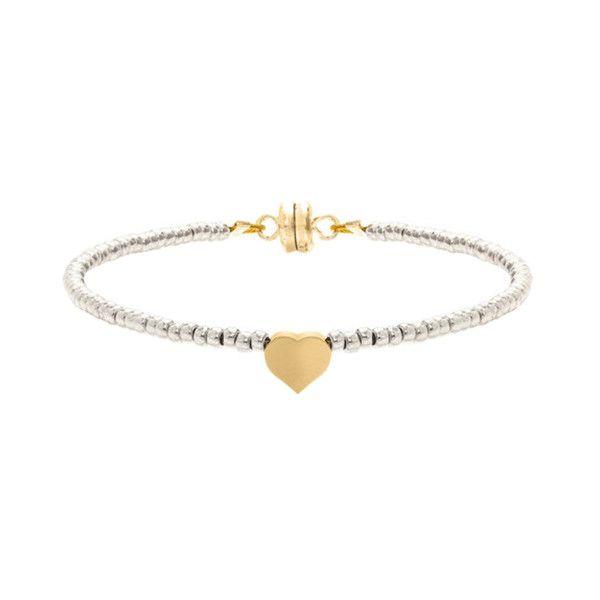 MINNIE GRACE Silver Beaded Heart charm friendship bracelet | La Luce
