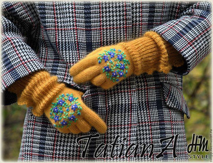 """Купить Короткие перчатки с кружевом """"Mustard"""" - оранжевый, перчатки, перчатки женские, перчатки вязаные"""