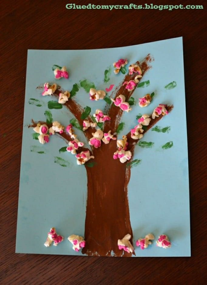 Cherry Blossom Popcorn Tree Kid Craft W Free Printable Template In 2021 Spring Crafts Preschool Crafts Crafts For Kids