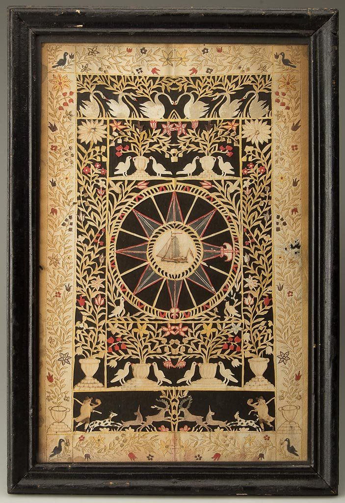 """FOLK ART CUT-PAPER PICTURE, pin-prick, watercolor, and ink on paper. Circa 1840-1860. 16 3/4"""" x 11 1/2"""""""
