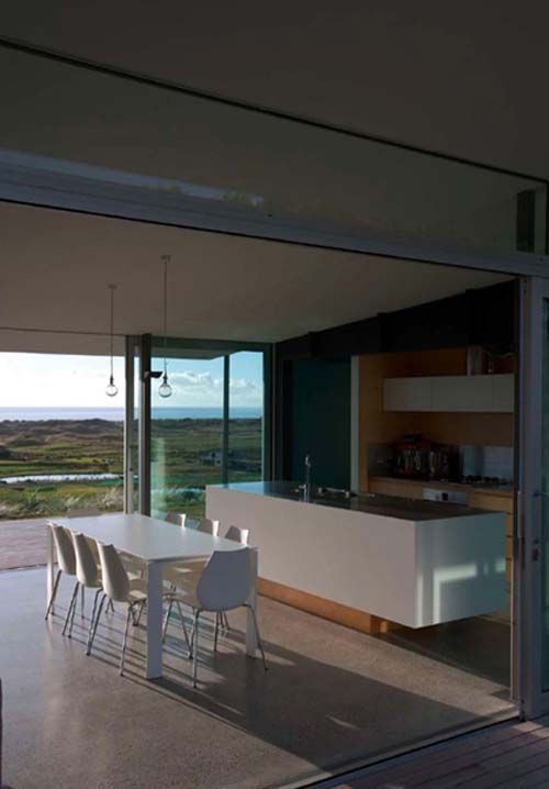 Pekapeka Beach House, Holiday House Design by Parsonson Architects - Kitchen, Dining Room view