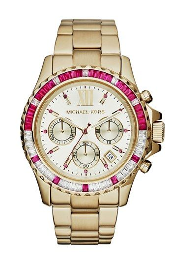 Michael Kors 'Everest' Baguette Crystal Bezel Bracelet Watch, 41mm available at #Nordstrom