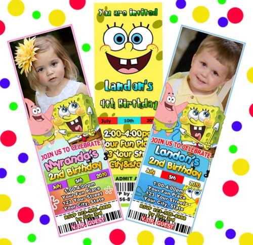 SPONGEBOB Sponge Bob BIRTHDAY PARTY TICKET INVITATIONS