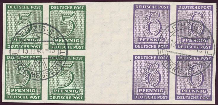 German Russian Occupation, SBZ 1945, Ziffern 5 Pfg. und 6 Pfg. im waagerechten Zusammendruck, als Einheit von 2 Zdr.-Paaren mit je einem Marken-4er-Block, mit klaren Stempeln von der Leipziger Messe, vom 13.10.1945, Prachterhalten, selten (gestempelt, Mi.-Nr. W Zd 3, Mi.EUR 1.600,--+). Price Estimate (8/2016): 500 EUR.