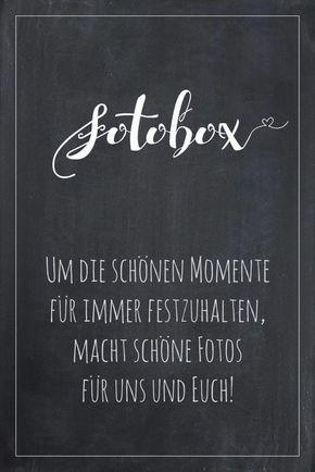 Fotobox Schild für die Hochzeit im Tafel-Look. Finde bei uns viele weitere Vorl…