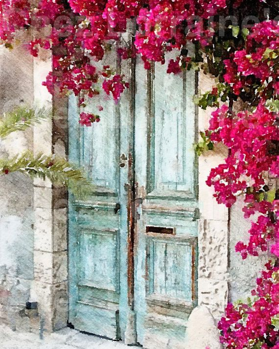 Cottage Door Watercolor Fine Art Print Rustic French Home Decor Shabby Chic Aqua And Fuchsia Pink Wall Art Bedroom Bathroom Living Room