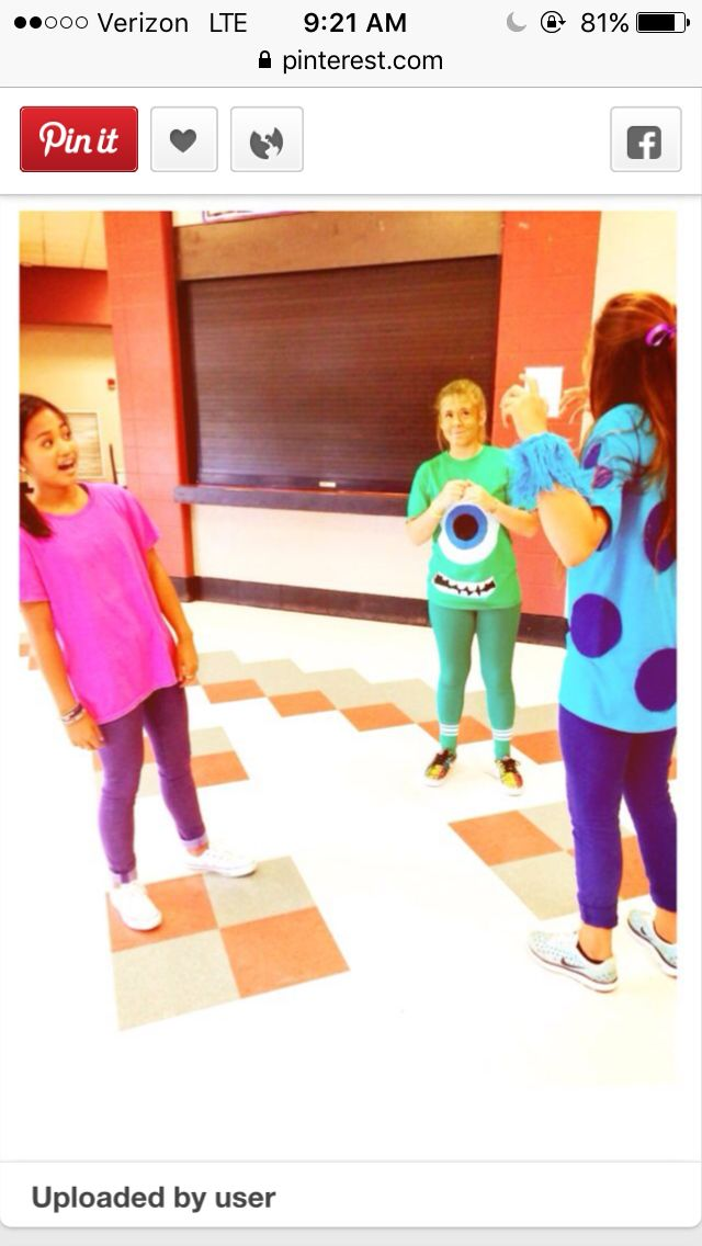 Monsters Inc. Group Character day idea for Spirit week