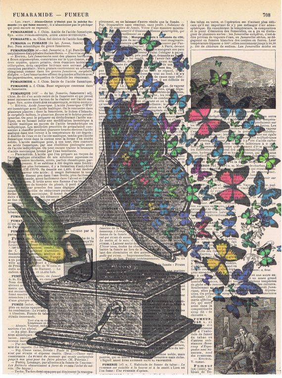 Gramophone and bird with Colourful butterflies Repurposed antique book page