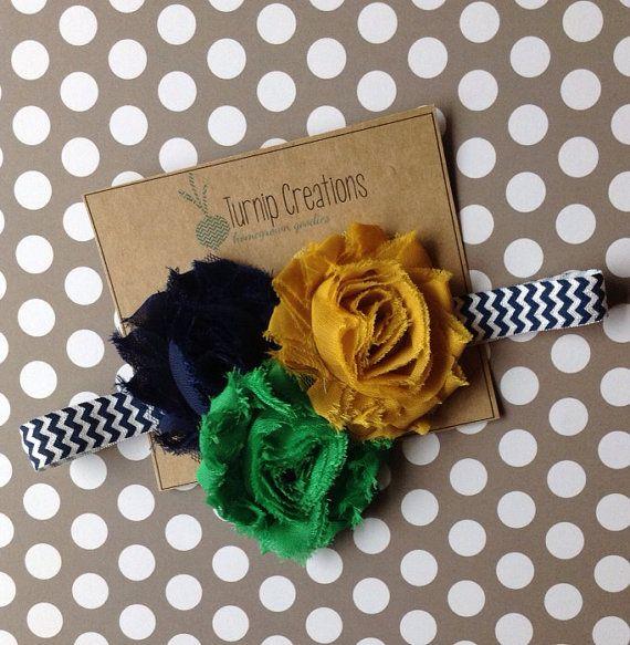 Notre Dame Game Day Headband Green Gold Navy Shabby Frayed Flowers Chevron Fighting Irish Etsy Turnip Creations turniptots