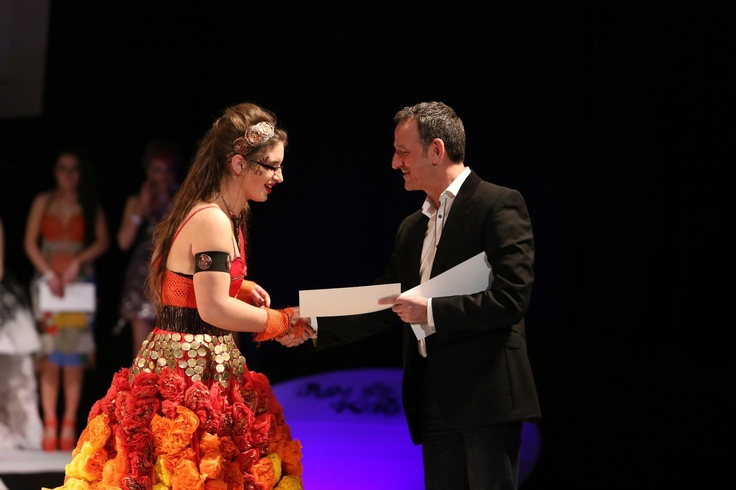 Aine Heffernan wearing Super Nova collecting the golden ticket at the eastern regional final 2013.