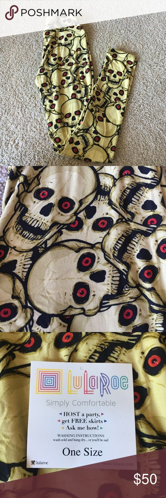 Skeleton LuLaRoe Leggings Fought tooth and nail for two pairs of Halloween leggings.  Stayed up super late, paid more than I should have annnnd decided that this pair was too busy for a boring Mom like me to pull off.  Love my Ghost leggings though!  Not a flipper at all, but I'd love to at least get my money back...since my time won't ever come back (sorry for cereal for dinner kids). LuLaRoe Pants Leggings