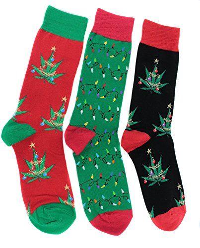 socksmith mens light up for christmas socks 3 pr pot leaf kush marijuana cannabis - Light Up Christmas Socks