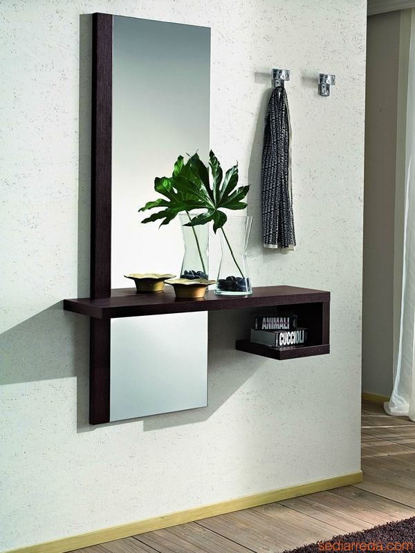PA252 | Composition for enrance hall in dark oak finishing, chromed hangers 2505 model (code D)