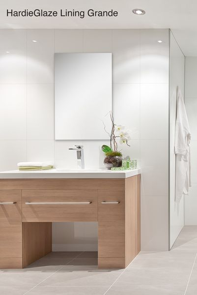 Sleek, clean and modern bathroom using James Hardi pre-finished wall lining - HardieGlaze™ Lining