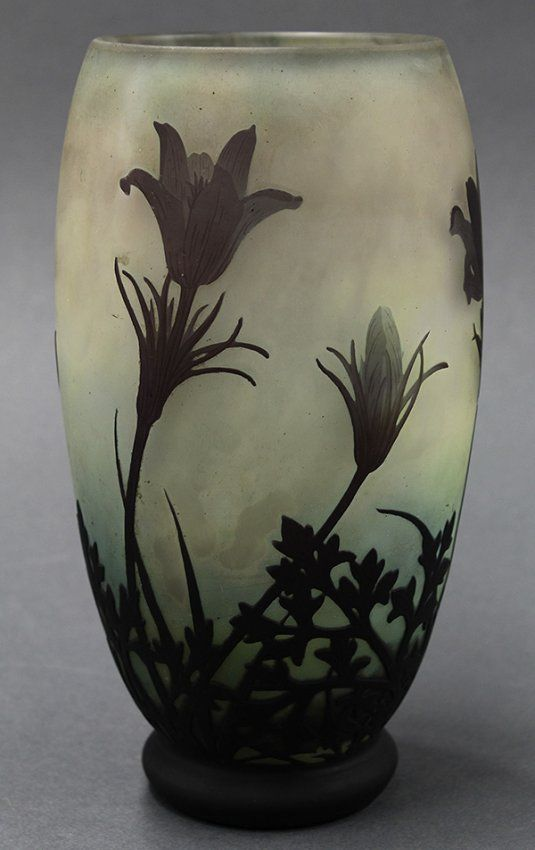 "DAUM Nancy Art Nouveau cameo glass vase, the tapered form decorated w/ aubergine violets cut to an ombre mottled ground from cream to sea green, marked Daum Nancy w/ the Cross of Lorraine, 8""h (hva)"