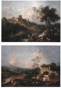 View near Coneglio with townsfolk by Francesco Zuccarelli
