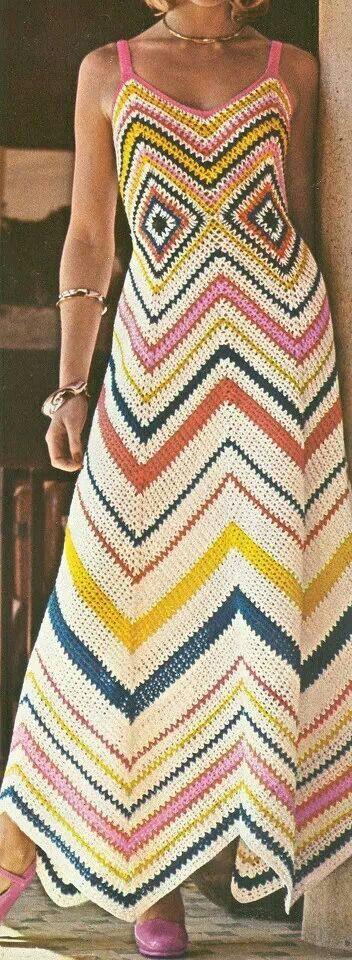 Crochet chevron long summer dress