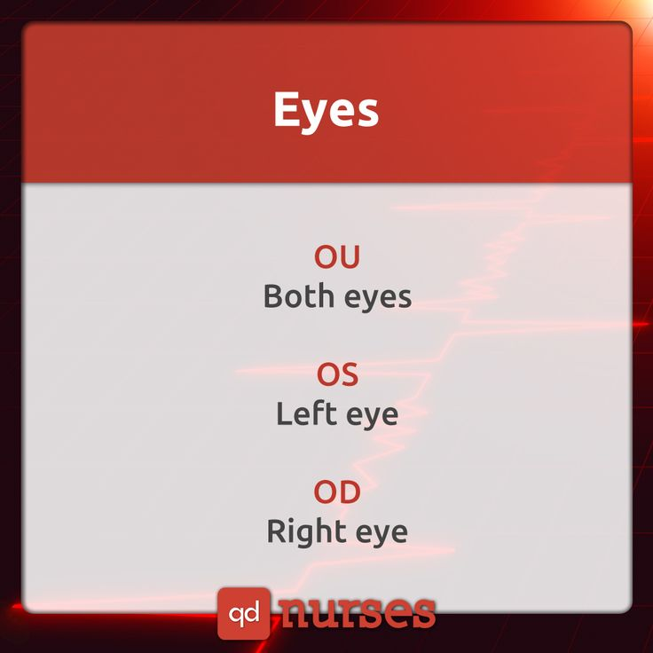 Know your documentation of eyes. You should know what they mean. For example, OD is oculus dexter. --- Visit http://qdnurses.com/qdmemes