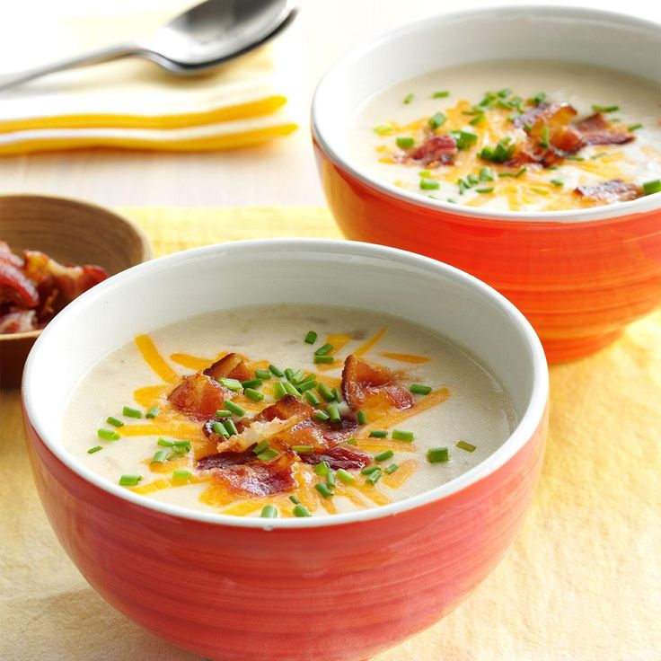 Slow-Cooked Loaded Potato Soup Recipe -I put a twist on one of my favorite comfort foods from my grandmother's recipes. I look forward to passing this down to my kids. —Jamie Chase, Rising Sun, Indiana