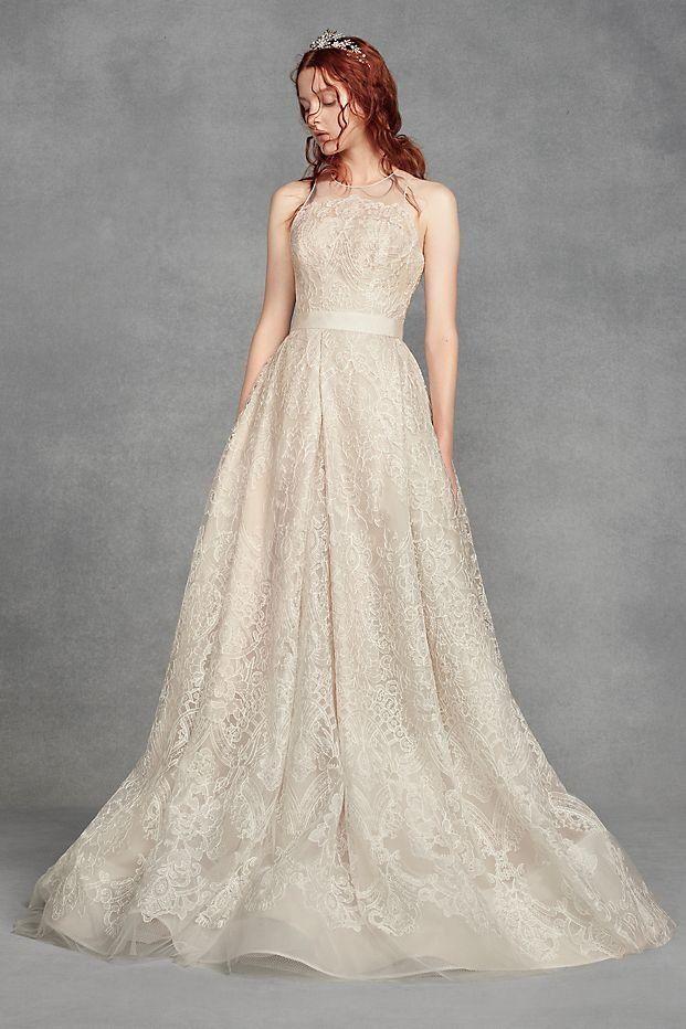 White by Vera Wang Macrame Lace Illusion Neck Wedding Dress available at David's Bridal