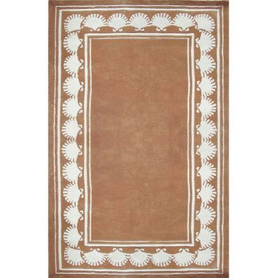 "American Home Rug Co. Beach Rug Peach Shell Border Novelty Rug Rug Size: Runner 2'6"" x 12'"