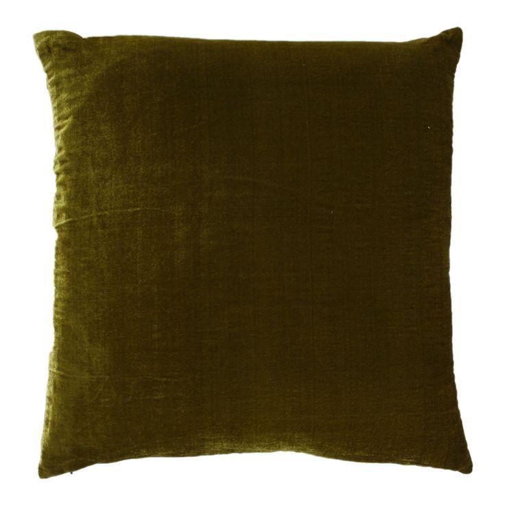 Leather Sofa Paddy Velvet Cushion Olive