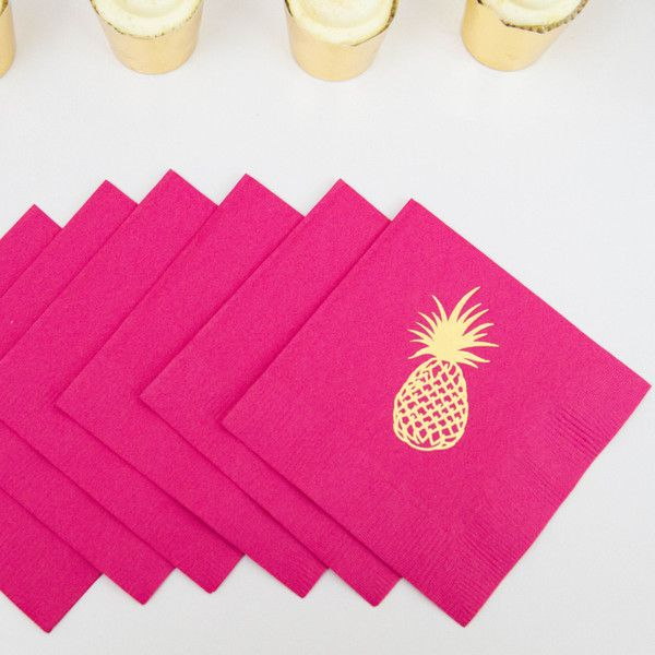 Pineapple Gold Foil Party Napkins - Ready to Ship - Set of 20 - Black - White - Hot Pink -   - Pink Poppy Party Shoppe - 1