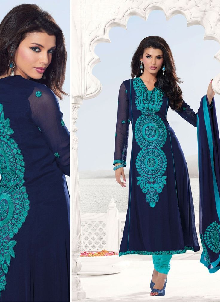 Elegant Navy Blue Embroidered Salwar Kameez