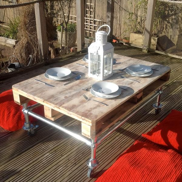 DIY Outdoor Pallet Coffee #Table with Metal Base | 101 Pallets