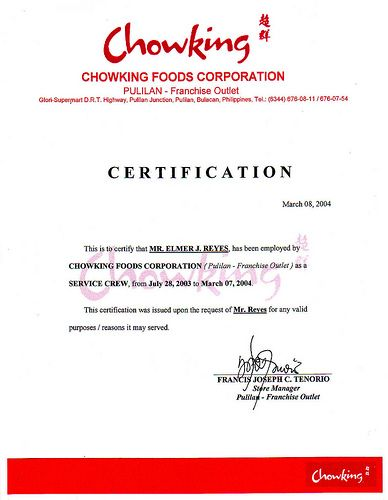 image result for jollibee certificate of employment
