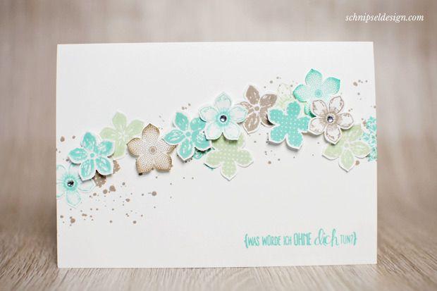 Stampin' Up! Karte Petite Petals und Stanze Kleine Blüte in Jade, Pistazie und Savanne; Ein Spruch für alle Fälle #stampinup #schnipseldesign
