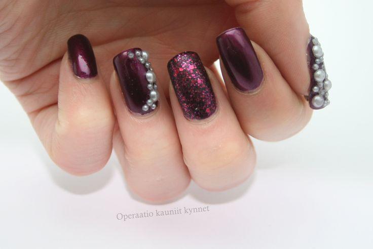 China Glaze - Cowgirl Up & Zoya - Noir with pearl rhinestones